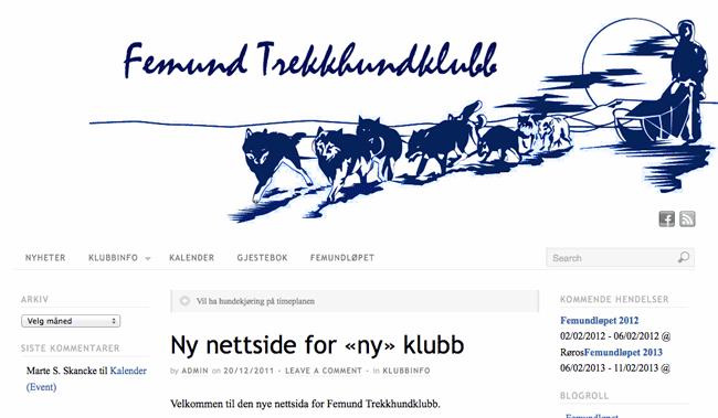 Femund Trekkhundklubb har fått sin egen nettside.