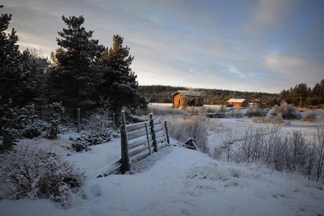 Landskapet er kledt i hvitt, men det tynne snølaget er ikke særlig egnet verken til sledekjøring eller skiturer.