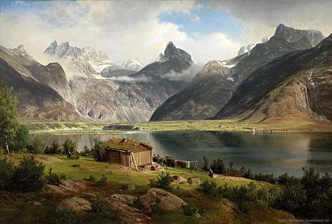Johan Fredrik Eckersbergs velkjente maleri av Romsdalshorn fra 1867, sett fra nordsida av Romsdalsfjorden.