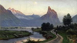 Fantasifull gjengivelse av Romsdalshorn, utført av Peder Cappelen Thurmann (1839-1919).
