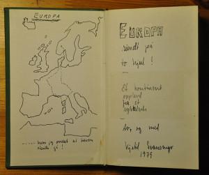 Håndtegnet Europa-kart med innstiplet rute slik den var planlagt. Men vegen blir til mens man sykler…