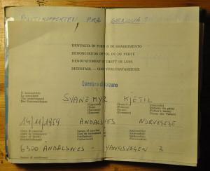 Faksimile av politirapporten fra Bolzano.