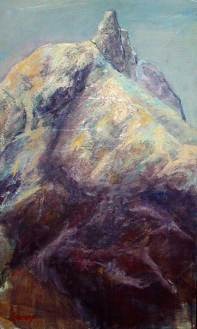 Mitt eget Romsdalshorn, gjengitt med malerpensler og akrylfarger, fritt etter hukommelsen, pluss litt kreativ fantasi.