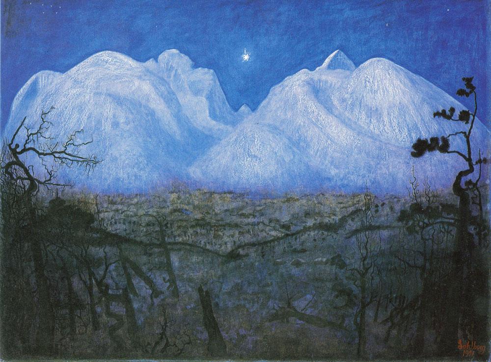 """Harald Sohlbergs """"Vinternatt i Rondane"""" fra 1901 ble kåret til Norges nasjonalmaleri av lytterne til """"Nitimen"""" på NRK en gang på 80-tallet."""