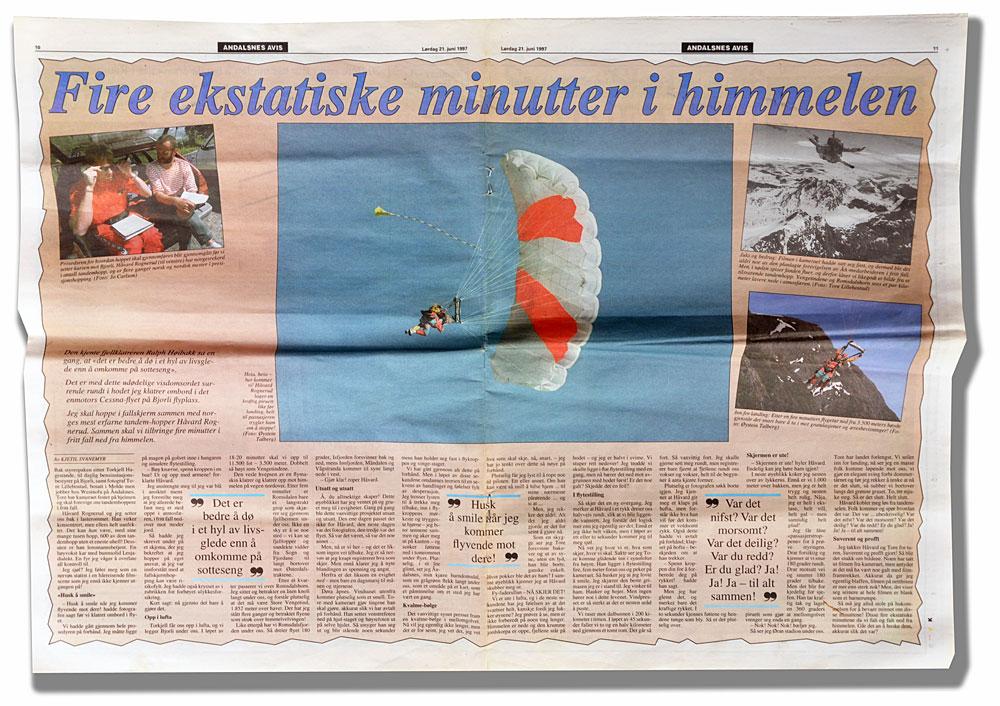 Faksimilie av reportasjen i Åndalsnes Avis 21. juni 1997.
