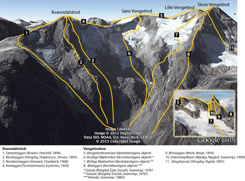 Kjente klatreruter på øst- og nordsiden av Kvanndalstind og Vengetindene. (Google Earth bilde)