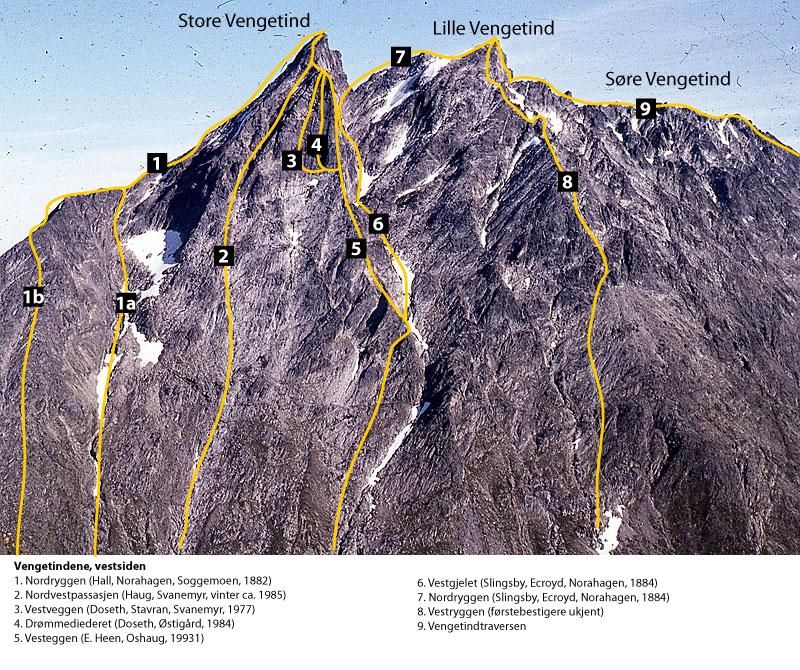 Kjente klatreruter på vestsiden av Vengetindene.