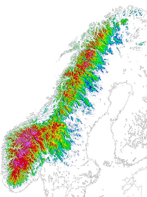 Den norske fjellkjeden strekker seg fra Agder og Rogaland i sør til Finnmark i nord og er nesten 1300 km lang. I dette kartet kommer den  langstrakte fjellkjeden tydelig frem ved at det er lagt farge på høyder over 400 meter. Inn i mellom finner vi kjente fjellområder med klingende navn som Jotunheimen og Rondane, Børgefjell og Svartisen.