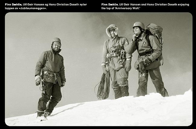 Finn Dæhlie, Ulf Geir Hansen og Hans Christian Doseth på toppen av Jubileumsveggen i Hurrungane påska 1979. Faksimile fra høstens utgave av Norrønas Magazine.