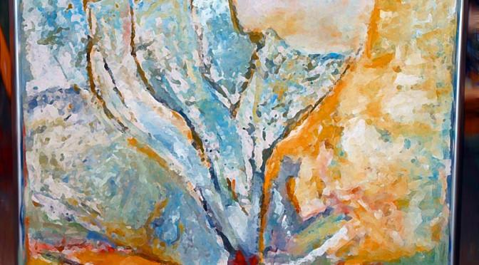 Maleri, acryl, 82x75 cm.