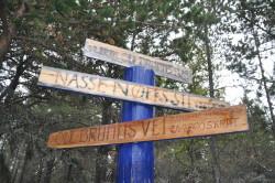 Stiene i Hundremeterskogen har navn fra Ole Brumm universet.