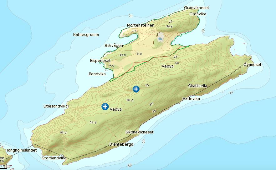 Veøya er ca en kvadratkilometer stor, nesten to kilometer lang og knapt en kilometer på det bredeste.