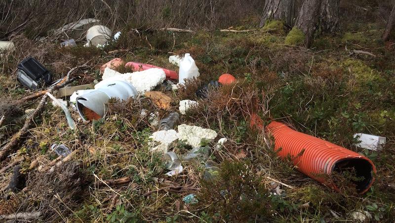 Et tilfeldig utvalg plastsøppel funnet i ei vik på Hjertøya utenfor Molde.